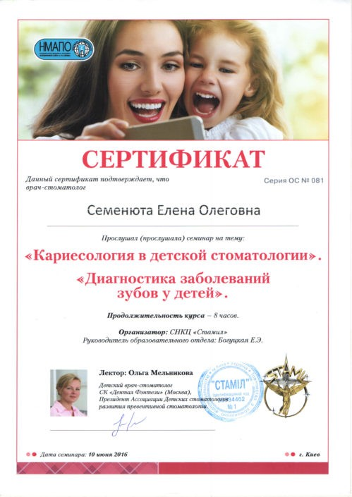 Сертификат лікаря Sandora#2